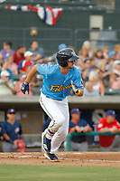 Myrtle Beach Pelicans infielder Austin Upshaw (5) at bat during a game against the Potomac Nationals at Ticketreturn.com Field at Pelicans Ballpark on July 1, 2018 in Myrtle Beach, South Carolina. Myrtle Beach defeated Potomac 6-1. (Robert Gurganus/Four Seam Images)