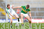 Seanie Buckley contest the ball with Eoin Brosnan in the Muster Senior Semi final held in The Gaelic Grounds last Saturday evening.