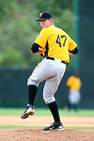 GCL Pirates relief pitcher Logan Pevny #47 delivers a pitch during a game against the GCL Braves at Disney Wide World of Sports on June 25, 2011 in Kissimmee, Florida.  The Pirates defeated the Braves 5-4 in ten innings.  (Mike Janes/Four Seam Images)