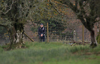 Pictured: A police officer at the the property in Llangammarch Wells, Powys, Wales, UK. Tuesday 31 October 2017<br />