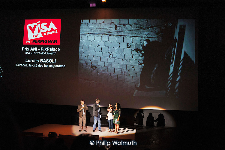 Awards presentation by Director Jean-Francois Leroy at the Visa Pour L'Image festival of photojournalism, Perpignan, France.