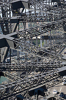 Looking down through the steelwork of Sydney Harbour Bridge from one of the south pylons.