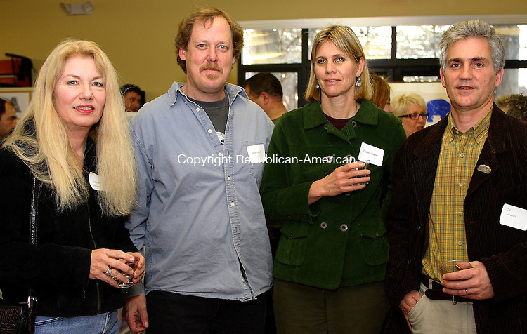 Litchfield, CT-02 March 28 2007-032807MK06 (From Left) Juliet Moore, Pieter Lefferts, a contributing artist, Claudia Cayne and John Johnson, a contributing artist, gathered for the  Bare Bear Party at the Litchfield Community Center. Michael Kabelka Republican / American.(Juliet Moore, Pieter Lefferts, a contributing artist, Claudia Cayne and John Johnson, a contributing artis) CQ