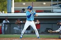 William Hancock (7) of the Burlington Royals at bat against the Danville Braves at Burlington Athletic Stadium on August 9, 2019 in Burlington, North Carolina. The Royals defeated the Braves 6-0. (Brian Westerholt/Four Seam Images)