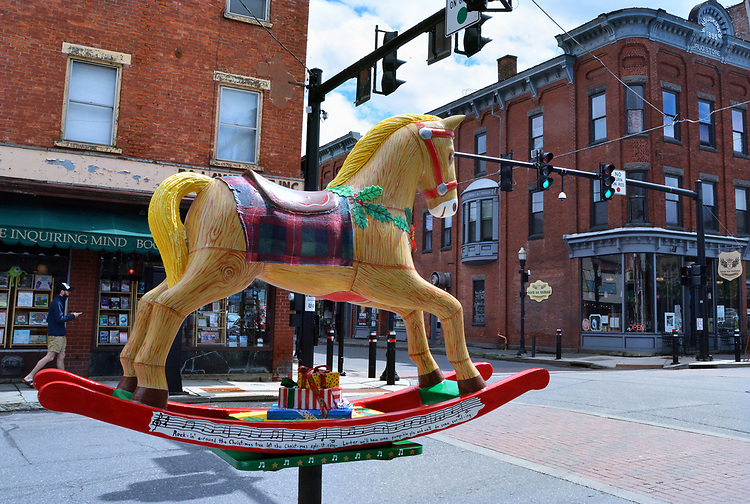 "A view of ""Rockin' Around the Christmas tree"" created by artist, Theresa Rowe Obert, one of the ""Rockin' Around Saugerties"" theme Statues on display throughout the Village of Saugerties, NY, on Sunday, June 4, 2017. Photo by Jim Peppler. Copyright/Jim Peppler-2017."
