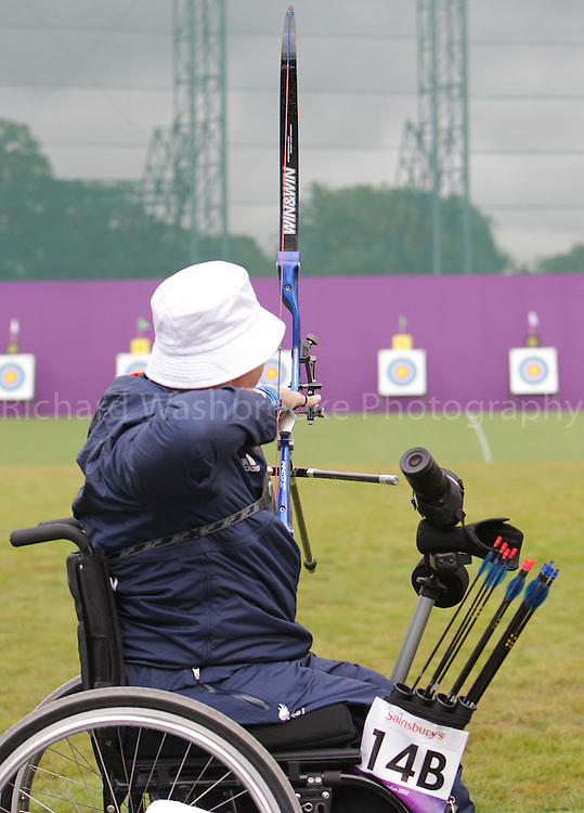 Paralympics London 2012 - ParalympicsGB - Archery Mens Individual Recurve - W1/W2  30th August 2012.  .Paul Browne, competing in the mens Archery Individual Recurve - Standing Heats at the Paralympic Games in London. Photo: Richard Washbrooke/ParalympicsGB