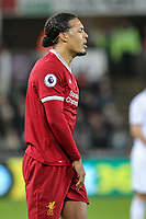 Virgil van Dijk of Liverpool during the Premier League match between Swansea City and Liverpool at the Liberty Stadium, Swansea, Wales on 22 January 2018. Photo by Mark Hawkins / PRiME Media Images.