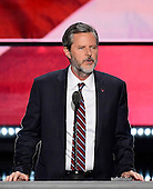 Jerry Falwell, Jr., President Liberty University makes remarks at the 2016 Republican National Convention held at the Quicken Loans Arena in Cleveland, Ohio on Thursday, July 21, 2016.<br /> Credit: Ron Sachs / CNP<br /> (RESTRICTION: NO New York or New Jersey Newspapers or newspapers within a 75 mile radius of New York City)