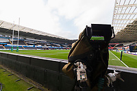 A general view of a television broadcast camera at the Liberty Stadium prior to kick off of the Champions Cup Round 1 match between Ospreys and Clermont at The Liberty Stadium, Swansea, Wales, UK. Sunday 15 October 2017