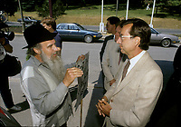 FILE -<br />  Anglophone rights activist Dave Parson argue with Robert Bourassa, Quebec Premier in June 1988 (exact date unkown)<br /> <br /> <br /> <br /> PHOTO  : Pierre Roussel - Agence Quebec Presse