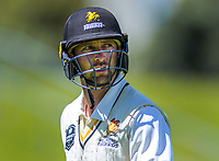 Wellington's Devon Conway walks off for lunch, after scoring 76 in the first session, during day one of the Plunket Shield cricket match between the Wellington Firebirds and Canterbury at Basin Reserve in Wellington, New Zealand on Tuesday, 29 October 2019. Photo: Dave Lintott / lintottphoto.co.nz