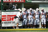 2 September 2006: Gustav Rydstedt (65), Tom McAndrew (41), Ismail Simpson (79), Will Powers (42) during Stanford's 48-10 loss to the Oregon Ducks at Autzen Stadium in Eugene, OR.