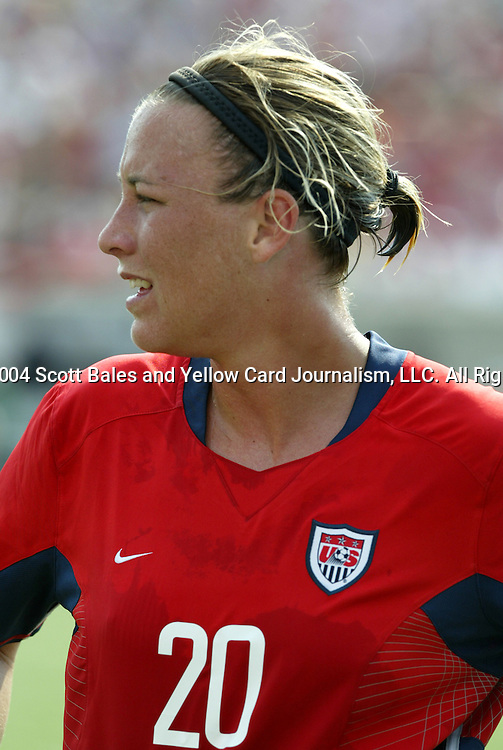 6 June 2004: Abby Wambach in the second half. The United States tied Japan 1-1 at Papa John's Cardinal Stadium in Louisville, KY in an international friendly soccer game..