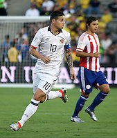 PASADENA - UNITED STATES, 07-06-2016: James Rodriguez jugador de Colombia (COL) en acción durante el encuentro del grupo A, fecha 2, con Paraguay (PAR) por la Copa América Centenario USA 2016 jugado en el estadio Rose Bowl en Pasadena, California, USA. /  James Rodriguez player of Colombia (COL) in action during the match of the group A date 2 against Paraguay (PAR)  for the Copa América Centenario USA 2016 played at Rose Bowl stadium in Pasadena, California, USA. Photo: VizzorImage/ Luis Alvarez /Str