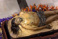 Thron mit Christus in der Kirche San Francisco der  Bruderschaft Paso Azul bei  der Semana Santa (Karwoche) in Lorca,  Provinz Murcia, Spanien, Europa