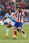 Atletico de Madrid´s Juanfran (R) and Deportivo de la Coruña´s Cavaleiro during 2014-15 La Liga match between Atletico de Madrid and Deportivo de la Coruña at Vicente Calderon stadium in Madrid, Spain. November 30, 2014. (ALTERPHOTOS/Victor Blanco)