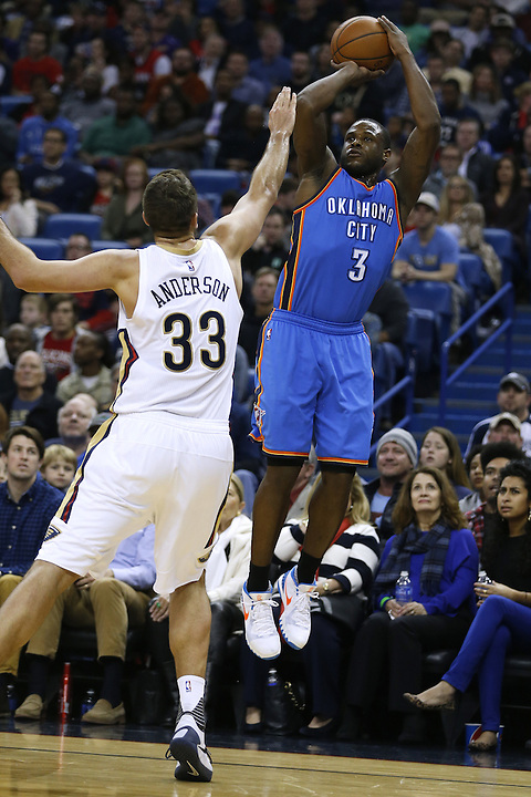 Oklahoma City Thunder guard Dion Waiters (3) shoots over New Orleans Pelicans forward Ryan Anderson (33) during the second half of an NBA basketball game Thursday, Feb. 25, 2016, in New Orleans. The Pelicans won 123-119. (AP Photo/Jonathan Bachman)
