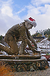 Statue of gold miner Claude Chana in the snow, Auburn, California.