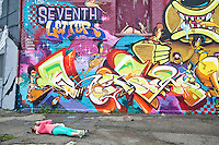 A woman lays on the ground to take a picture of a graffiti near the Eastern Farmers Market in Detroit (Mi) Saturday June 8, 2013.