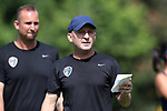CARY, NC - JUNE 29: Paul Riley and Scott Vallow (behind). The North Carolina Courage held a training session on June 29, 2017, at WakeMed Soccer Park Field 6 in Cary, NC.