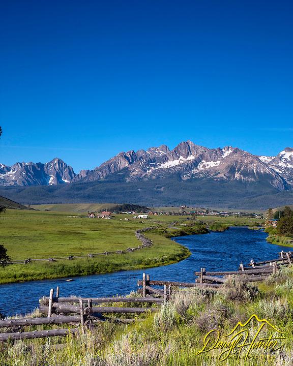 The Salmon River where it flows through the town of Stanley Idaho beneath the Sawtooth Range.