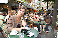 Britt Karlsson, BKWine, in a cafe in Paris Paris, France.