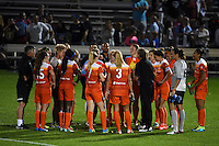 Kansas City, MO - Saturday May 07, 2016: The Houston Dash huddle after the game against FC Kansas City. The Houston Dash  defeated FC Kansas City 2-1 during a regular season National Women's Soccer League (NWSL) match at Swope Soccer Village.