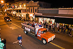 Sutter Creek's first Electrical Light Parade downtown during the Christmas season...Here's the Amador Vintner's truck from Cooper Vineyards with winemakers riding in the bed.