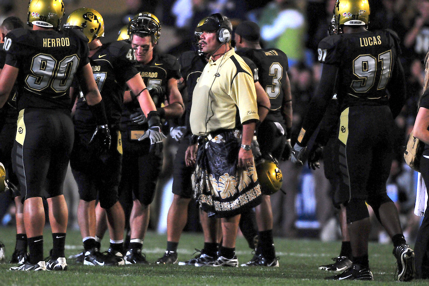 18 September 08: Colorado assistant head coach Brian Cabral during a game against West Virginia. The Colorado Buffaloes defeated the West Virginia Mountaineers 17-14 in overtime at Folsom Field in Boulder, Colorado. For Editorial Use Only.