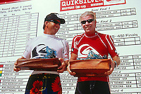 Wayne 'Rabbit' Bartholomew - 1st Grand Masters and Gary Elkerton - 1st Masters (AUS) Quiksilver Masters Makaha Hawaii 2005.Photo:  joliphotos.com