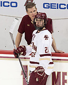Bert Lenz (BC - Director-Sports Medicine), Matthew Gaudreau (BC - 21) - The visiting University of Vermont Catamounts tied the Boston College Eagles 2-2 on Saturday, February 18, 2017, Boston College's senior night at Kelley Rink in Conte Forum in Chestnut Hill, Massachusetts.Vermont and BC tied 2-2 on Saturday, February 18, 2017, Boston College's senior night at Kelley Rink in Conte Forum in Chestnut Hill, Massachusetts.