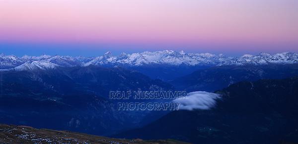 Swiss alps seen from Cassonsgrat peak at dusk, Flims, Switzerland