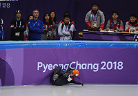 OLYMPIC GAMES: PYEONGCHANG: 10-02-2018, Gangneung Ice Arena, Short Track, Heats 500m Ladies, fall Suzanne Schulting (NED), ©photo Martin de Jong