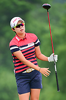 Hyo Joo Kim (KOR) watches her tee shot on 9 during Thursday's first round of the 72nd U.S. Women's Open Championship, at Trump National Golf Club, Bedminster, New Jersey. 7/13/2017.<br /> Picture: Golffile | Ken Murray<br /> <br /> <br /> All photo usage must carry mandatory copyright credit (&copy; Golffile | Ken Murray)