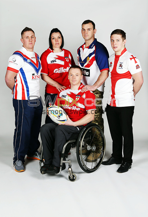 PICTURE BY VAUGHN RIDLEY/SWPIX.COM - Rugby League - World Cup 2013 - Festival of World Cups Launch - Leeds Civic Hall, Leeds, England - 12/02/13 - The RFL is hosting The Festival of World Cups this summer featuring separate competitions for Women, Wheelchair, Police, Student and Armed Forces.  The 5 England Captains (L-R) - Adam Newton of GB Police RL, Emma Slowe of England Women RL, Andy Wharton of England Wheelchair RL, Chris Gordon of GB Armed Forces RL and Alistair Leek of England Student RL.