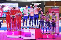 SCHAATSEN: BERLIJN: Sportforum, 08-12-2013, Essent ISU World Cup, podium Team Pursuit Ladies, Luiza Zlotkowska, Katarzyna Bachleda-Curus, Natalia Czerwonka (POL), Ireen Wüst, Marrit Leenstra, Jorien ter Mors (NED), Seon-Yeong Noh, Bo-Reum Kim, Shin Young Yang (KOR), ©foto Martin de Jong