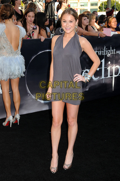"ALEXA VEGA .""The Twilight Saga: Eclipse"" Los Angeles Premiere at the 2010 Los Angeles Film Festival held at Nokia Theatre LA Live, Los Angeles, California, USA, 24th June 2010..full length grey gray dress hand on hip peep toe shoes halterneck .CAP/ADM/BP.©Byron Purvis/AdMedia/Capital Pictures."