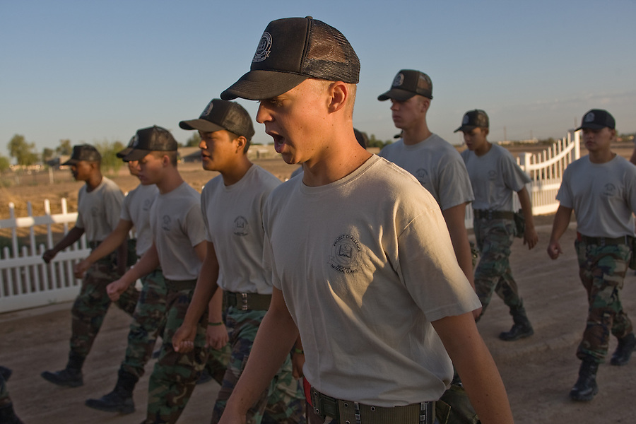 mr-cadets0530   159009- Project Challenge cadet  Michael Jensen marches with other cadets to breakfast Wednesday. Arizona Project Challenge provides a live-in military based education for high school drop outs.  Michael Jensen, of Gilbert, will be the first Arizona Project Challenge cadet to graduate with a high school diploma from Sequoia Choice Arizona Distance Learning in Mesa. (Pat Shannahan/ The Arizona Republic)