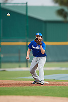 Benjamin Ortiz (22), from Walla Walla, Washington, while playing for the Dodgers during the Baseball Factory Pirate City Christmas Camp & Tournament on December 30, 2017 at Pirate City in Bradenton, Florida.  (Mike Janes/Four Seam Images)