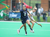 College Park, MD - May 19, 2018: Navy Marie Valenti (8) gets the ball during the quarterfinal game between Navy and Maryland at  Field Hockey and Lacrosse Complex in College Park, MD.  (Photo by Elliott Brown/Media Images International)