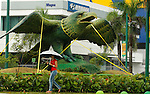 A resident walks next to an eagle sculpture which was secured with straps by the pass Tropical Storm Emily which moves through Dominican Republic and Haiti;  the Tropical Storm Emily dissipated Thursday afternoon , but could regenerate in the next few days, according to the National Hurricane Center.  August 4, 2011 VIEWpress/  Kena Betancur