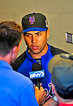 6 June 2009: New York Mets' center fielder Carlos Beltran gives a media interview after warm ups prior to a game against the Washington Nationals at Nationals Park in Washington, DC. The Mets fell to the Nationals 7-1 as Nats' starting pitcher John Lannan tossed his first career complete-game win. Mandatory Credit: Ed Wolfstein Photo