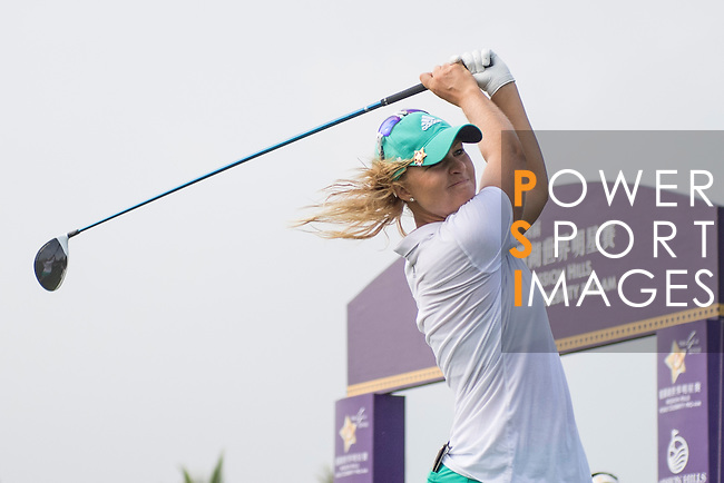 Anna Nordqvist tees off the 1st hole during the World Celebrity Pro-Am 2016 Mission Hills China Golf Tournament on 23 October 2016, in Haikou, China. Photo by Weixiang Lim / Power Sport Images