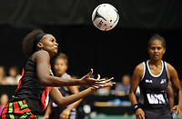 22.02.2018 Malawi's Mwai Kumwenda in action during the Fiji v Malawi Taini Jamison Trophy netball match at the North Shore Events Centre in Auckland. Mandatory Photo Credit ©Michael Bradley.