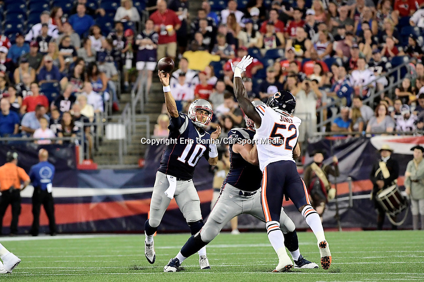 Thursday, August 18 2016: New England Patriots quarterback Jimmy Garoppolo (10) throws a pass during a pre-season NFL game between the Chicago Bears and the New England Patriots held at Gillette Stadium in Foxborough Massachusetts. The Patriots defeat the Bears 23-22 in regulation time. Eric Canha/Cal Sport Media