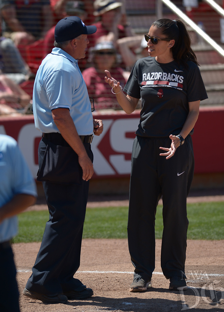 NWA Democrat-Gazette/ANDY SHUPE<br />Arkansas coach Courtney Deifel argues with plate umpire Steve McCown after a runner was called out for leaving third early on a fly ball out Saturday, May 19, 2018, to end the seventh inning against Wichita State at Bogle Park during the NCAA Fayetteville Softball Regional on the university campus in Fayetteville. Visit nwadg.com/photos to see more photographs from the game.