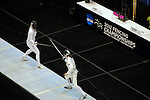 23 MAR 2012:  Kate Cavanaugh of Northwestern competes against Margherita Guzzi Vincenti of Penn State in the epee competition of the Division I Women's Fencing Championship held at St. John Arena on the Ohio State University campus in Columbus, OH. Vincenti defeated Cavanaugh 15-7 to advance to the finals.  Jay LaPrete/ NCAA Photos