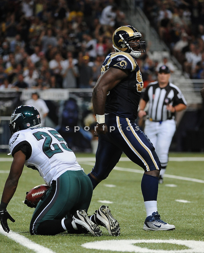 JAMES HALL, of the St. Louis Rams, in action during the Rams game against the Philadelphia Eagles on September 11, 2011at Edward Jones Dome in St. Louis, MO. The Eagles beat the Rams 31-13.