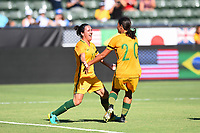 Carson, CA - Thursday August 03, 2017: Lisa De Vanna, Sam Kerr during a 2017 Tournament of Nations match between the women's national teams of Australia (AUS) and Brazil (BRA) at the StubHub Center.