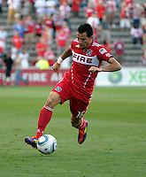 Chicago midfielder Marco Pappa (16) dribbles the ball.  The Chicago Fire defeated Toronto FC 2-0 at Toyota Park in Bridgeview, IL on August 21, 2011.